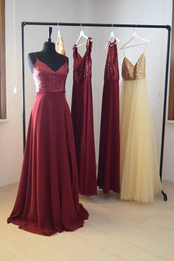 3da34e1962d Made To Order Charming Chiffon With Top Sequin Burgundy Bridesmaid Dress