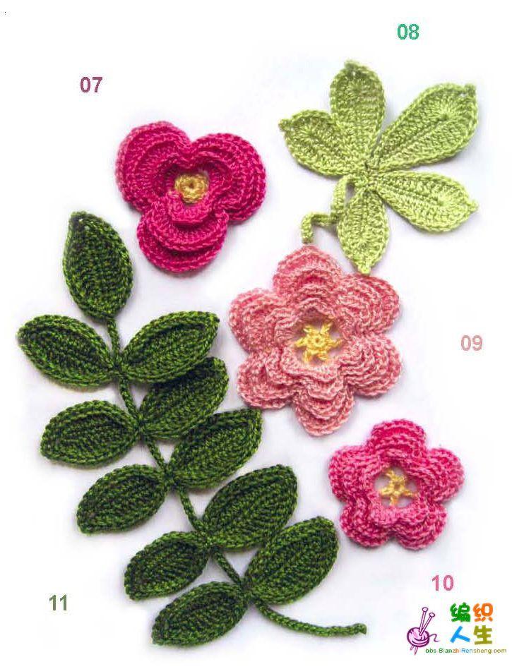 Irish Crochet Flower Flores Crochet Pinterest Flower Chart