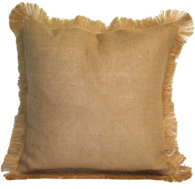 Marvelous Decorative Pillows With Fringe Part - 8: NATURAL BURLAP W/ JUTE FRINGE THROW PILLOW