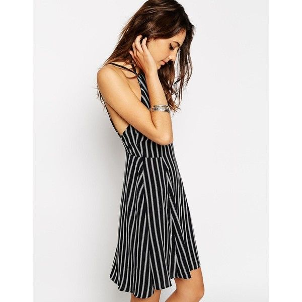 ASOS 90's Sundress With High Neck In Stripe ($18) ❤ liked on Polyvore featuring tops, print, striped high neck top, zip top, woven top, tall tops and striped top