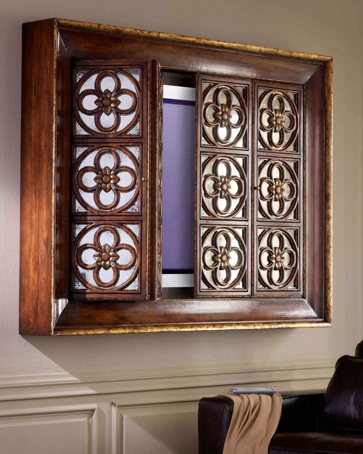 Quatrefoil Flat Screen Tv Wall Cabinet From John Richard Collection