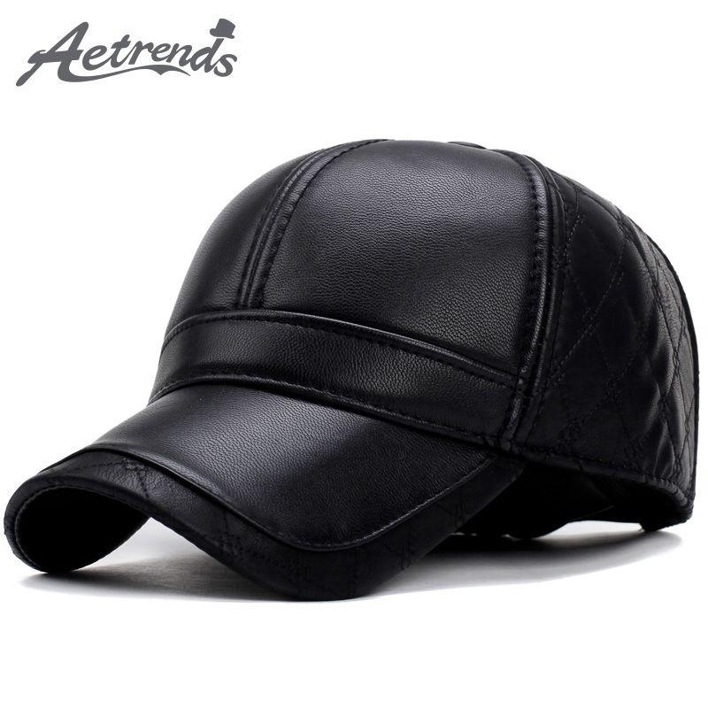e2d6365ddc6 2017 New Winter Baseball Cap Men PU Leather Warm with Ear Flaps Dad Hat  Bone Men s