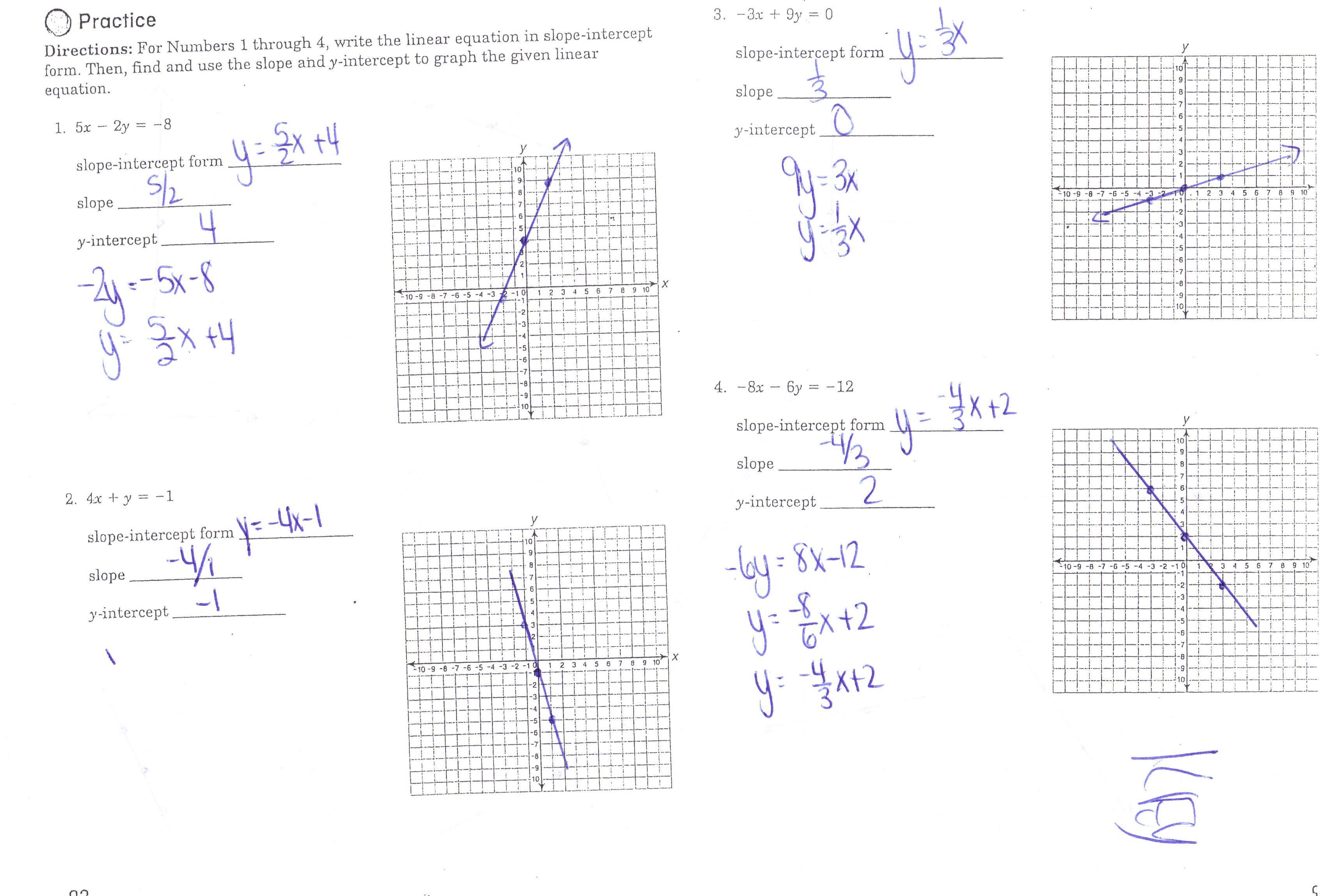 Math Slope Intercept Form Worksheets Print Pre Algebra