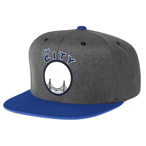 wholesale dealer b6a86 68e8f Golden State Warriors Mitchell   Ness NBA Hardwood Classics City Logo 2-Tone  Snapback Hat - Dark Heather