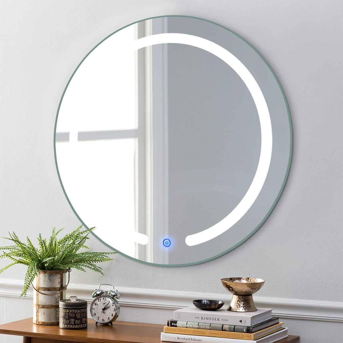 Tangkula 20 Led Mirror Round Wall Mount Lighted Mirror Bathroom Bedroom Home Furniture Illuminated Vanity Make Up Lamp Wall Mounted Mirror With Touch Button 2 Wall Mounted Mirror Led Mirror Mirror