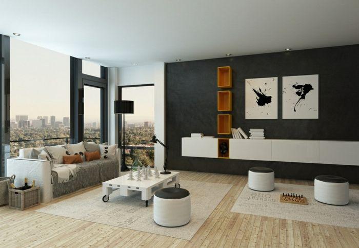 wohnzimmer einrichten beispiele akzentwand hocker wandregale - wohnzimmer design beispiele