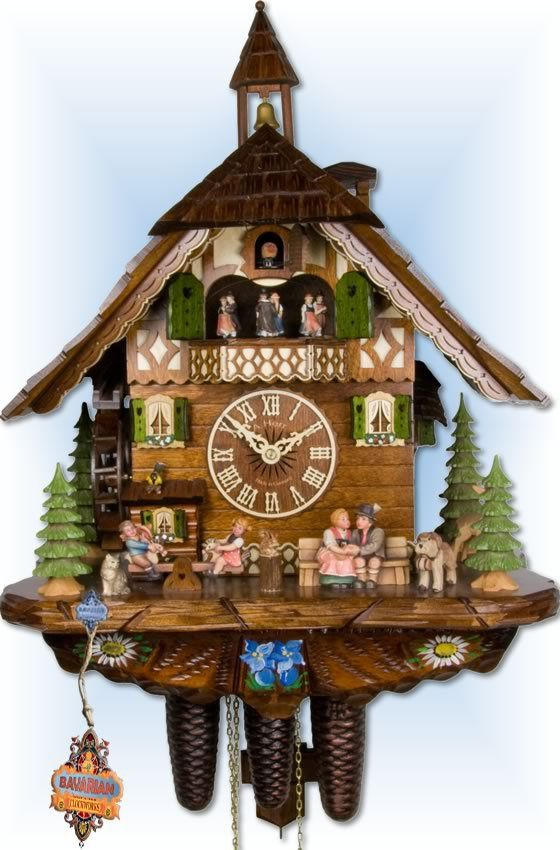 chalet style day happy family cuckoo clock by adolf herr  adolf herr happy family cuckoo clock 21 bavarian clockworks