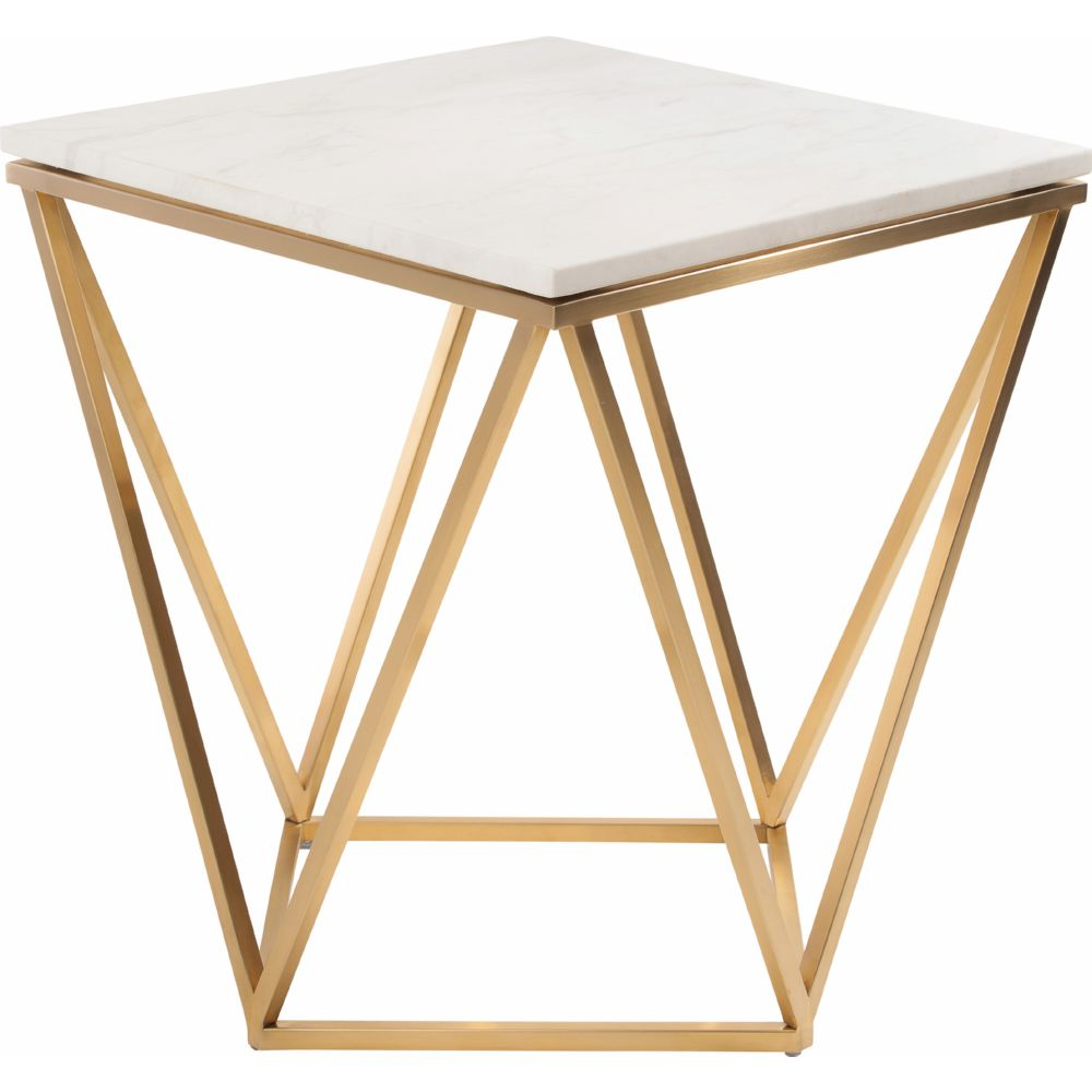 Dynamic Home Decor Jasmine Side Table W White Marble On Geometric Gold Brushed Stainless Base