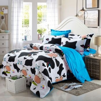 Incroyable Black White And French Blue Dairy Cow Print Farm Animal Jungle Safari  Themed Personalized Kids, Girls, Boys Twin, Full Size Bedding Sets