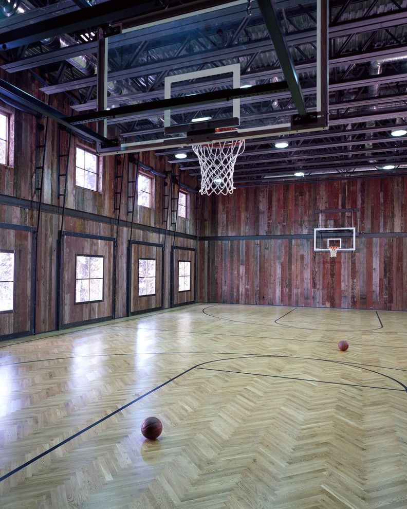 Indoor Basketball Court Cost Home Gym Rustic With Barn