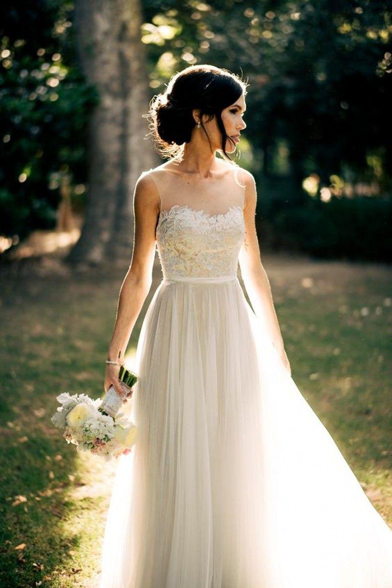 Illusion scoop neck aline lace top wedding dresses sleeveless