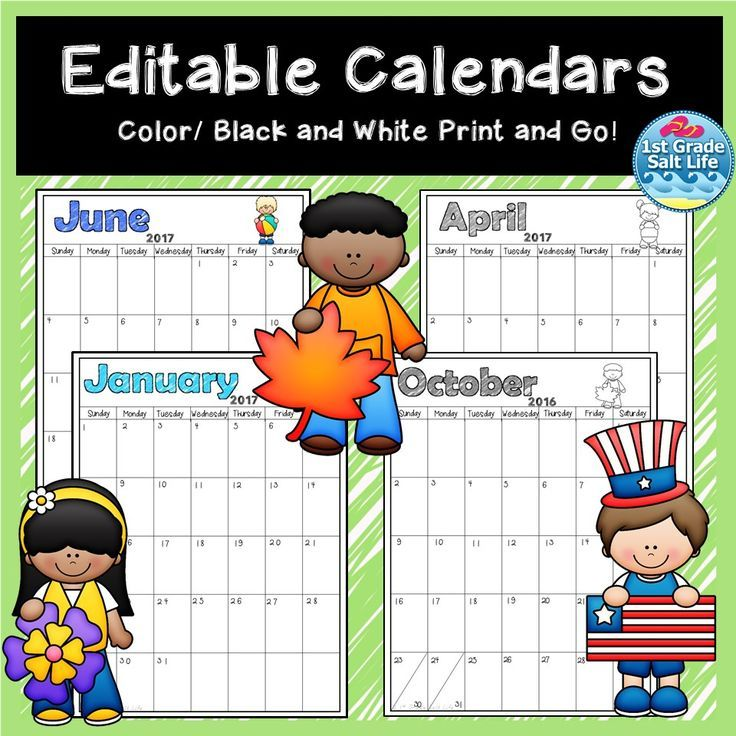 Editable Monthly Calendar with Lifetime Updates   Color and Black and White