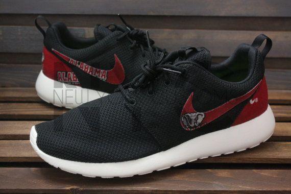 Nike Roshe Run Black Alabama Crimson Tide Custom