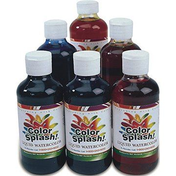 S S Worldwide 8 Oz Color Splash Liquid Watercolor Paint Set Of