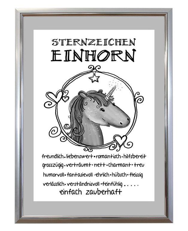 Kunstdruck Spruch Einhorn Sternzeichen Susses Einhorn Einhorn