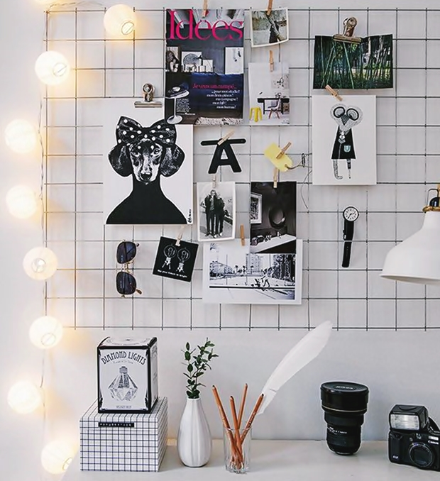 mural de fotos com grade Ideias para decorao Pinterest