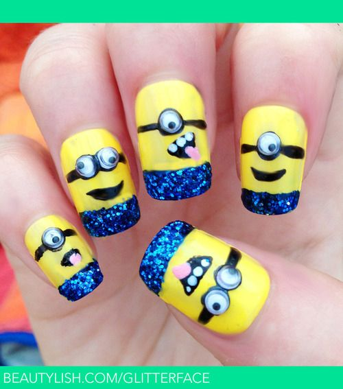 50 Adorable Despicable Me Minion Nail Designs - 50 Adorable Despicable Me Minion Nail Designs Nails Pinterest