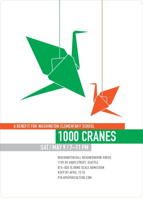 1000 Cranes Party Invitations
