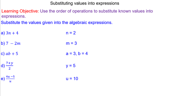 Substitution Into Algebraic Expressions Algebraic Expressions Order Of Operations Expressions