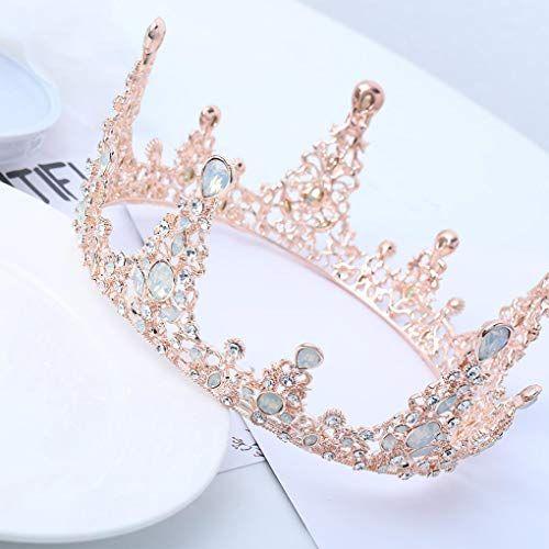 Barode Rose Gold Wedding Crowns and Tiaras Crystal