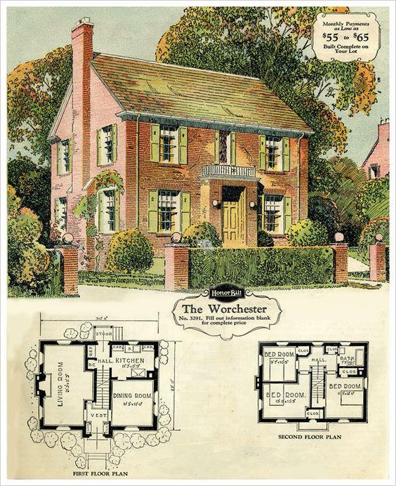1929 Sears Brick Veneer The Worchester Colonial House Plans Sims House Plans Vintage House Plans