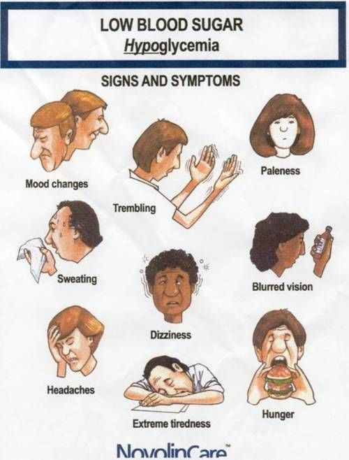 Signs and symptoms associated with hypoglycemia include nervousness, diaphoresis, weakness, light-headedness, confusion, paresthesia, irritability, headache, hunger, tachycardia, and changes in speech, hearing, or vision. If untreated, signs and symptoms may progress to unconsciousness, seizures, coma, and death.