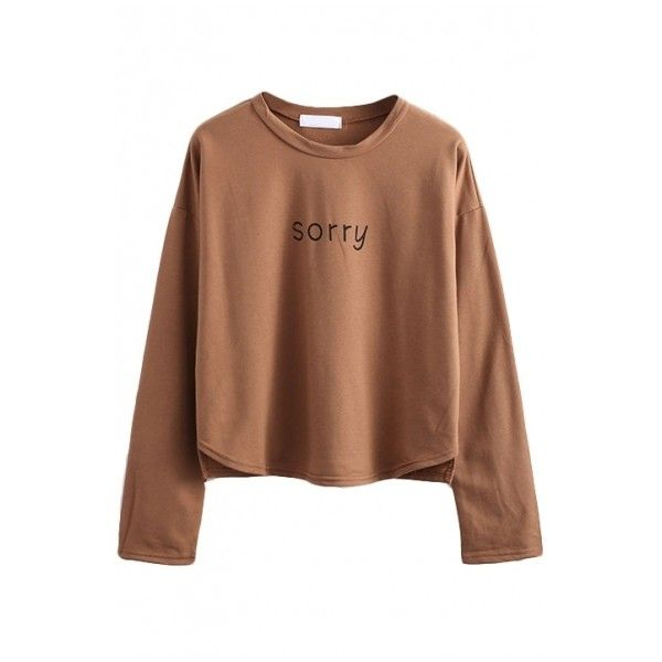 Long Sleeve Letter Print Round Neck Tee (€11) ❤ liked on Polyvore featuring tops, t-shirts, shirts, long sleeves, sweaters, pattern shirt, brown t shirt, print shirts, long sleeve shirts and round neck t shirt