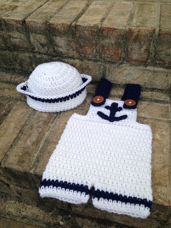 Newborn Sailor Outfit Crochet by 3BabyLambs on Etsy  8d99e93bff64