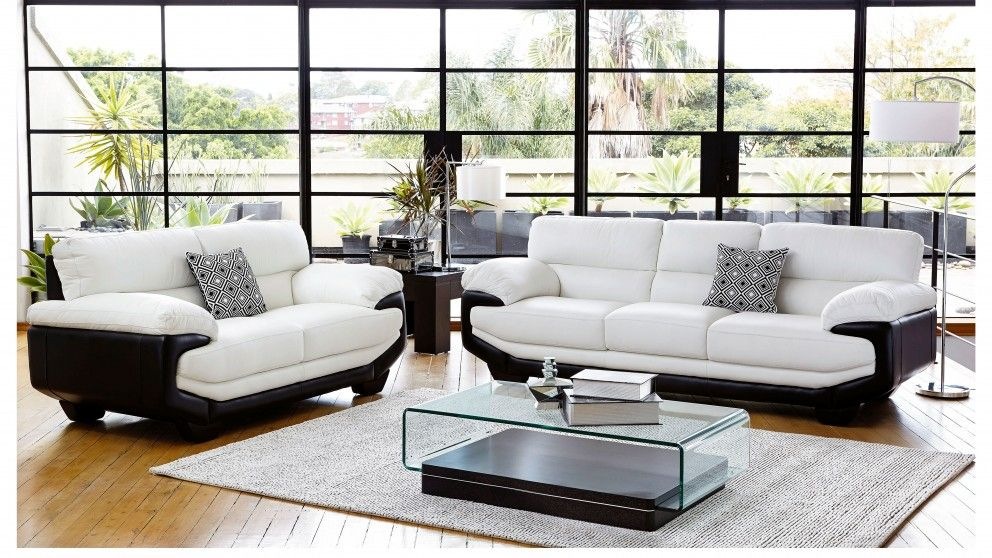 Centro MK2 2 Piece Leather Lounge Suite - Living Room - Furniture ...