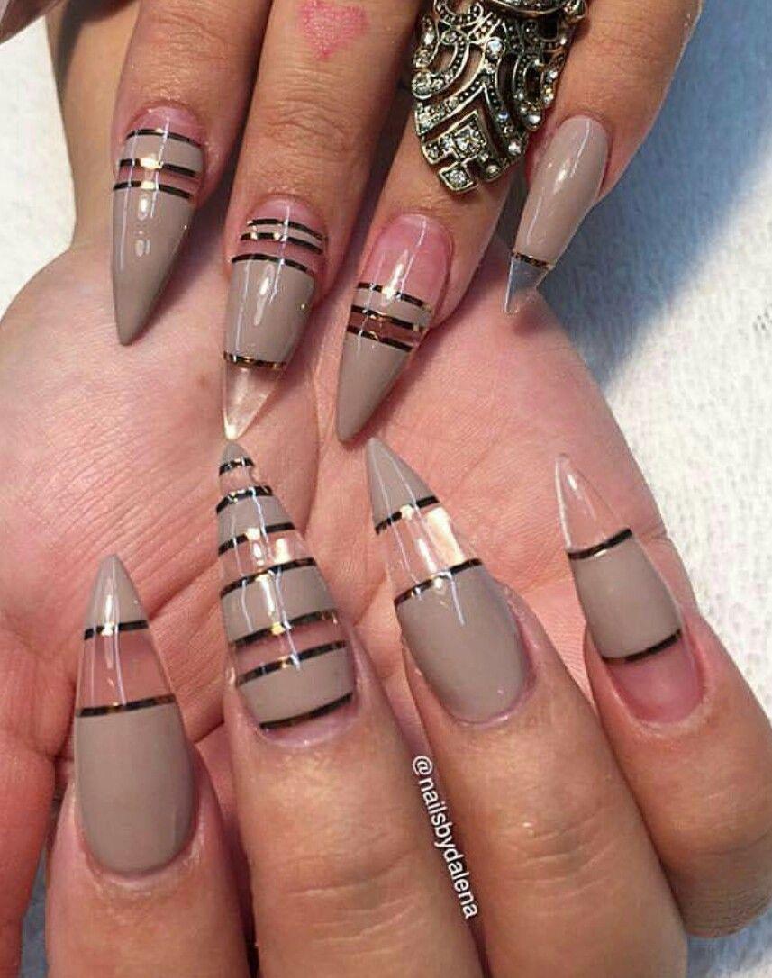 Taupe stone transparent striped stiletto nails design nailart ...