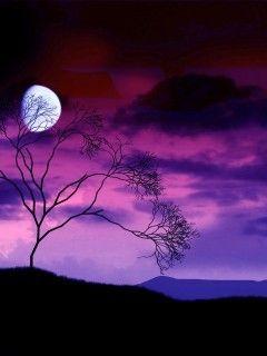 Purple Nature Mobile Wallpaper Beautiful Moon Nature Beautiful Sky