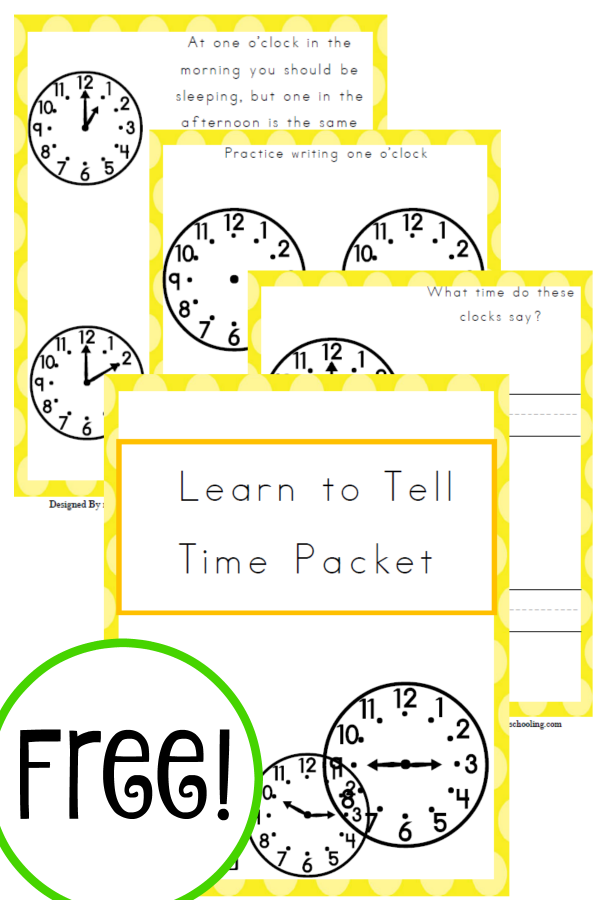 Free Learn to Tell Time Packet | Best of Year Round ...