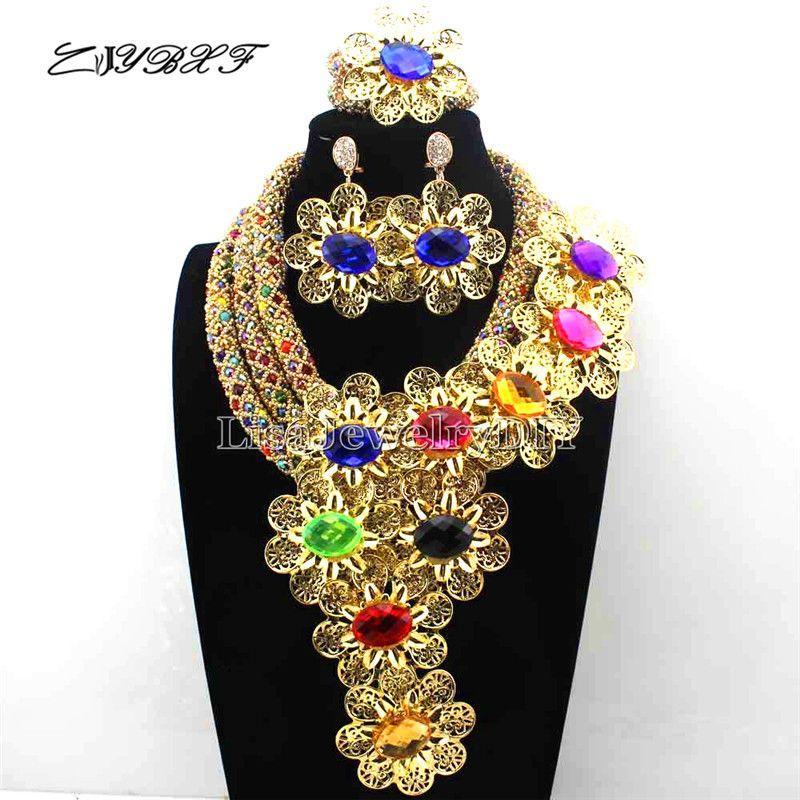 Wholesale  African Jewelry Set Crystal Bead Accessories Wedding Jewelry Set earrings Flower Jewelry Set L1068