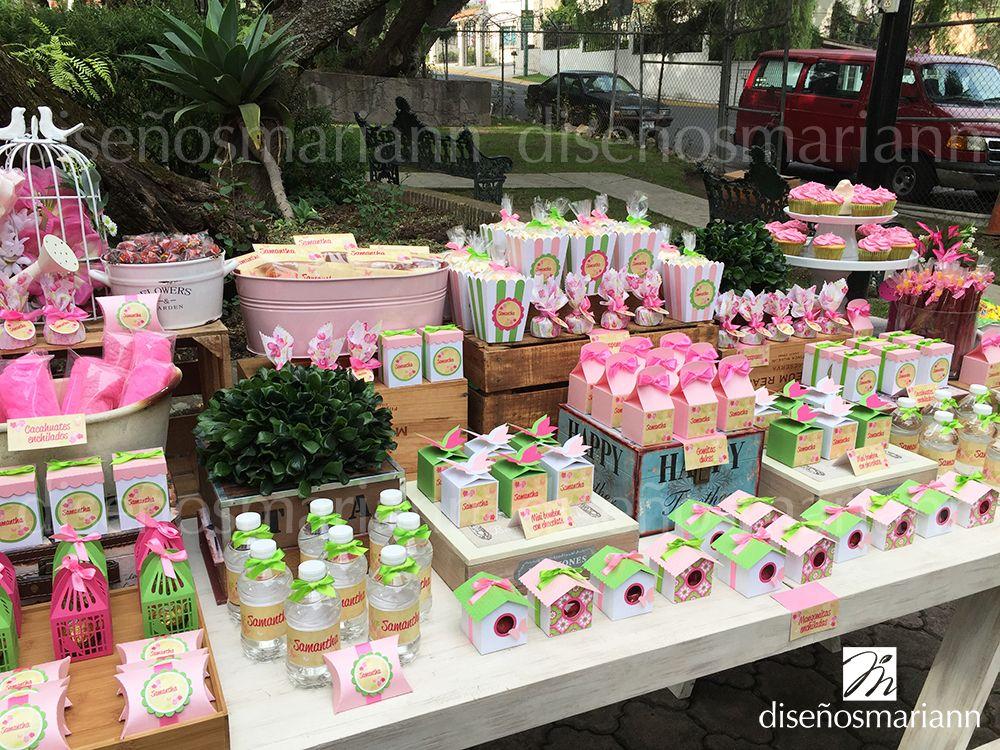 Mesa de dulces para baby shower de ni a mariposas y - Mesas dulces para ninas ...