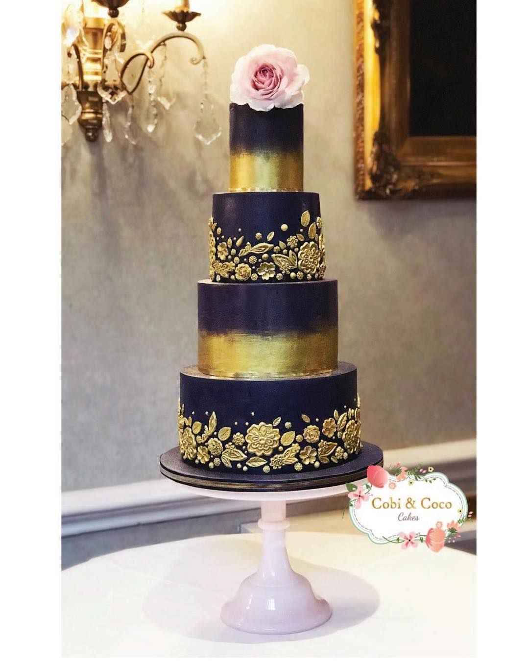 Navy Gold Wedding Cake With A Blush Rose Cobi Coco Cakes Gold Wedding Cake Navy Blue Wedding Cakes Wedding Cake Navy