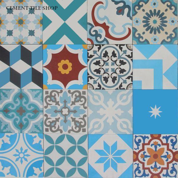 Cement Tile Encaustic Patchwork Blue