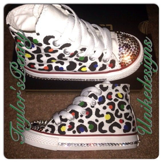 Bling custom converse hand painted and crystallized with rhinestones. Animal  print! Leopard. Hand Painted leopard Converse w  Swarovski. 5d1556bdf