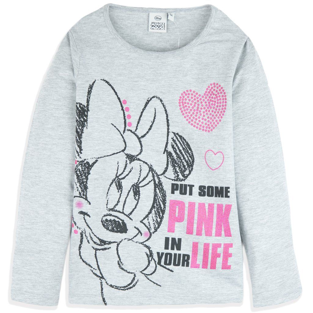 Disney Minnie Mouse Girls Jumper Sweatshirt Top Classic Style with Bow and Character Picture 100/% Cotton 2-8 Years