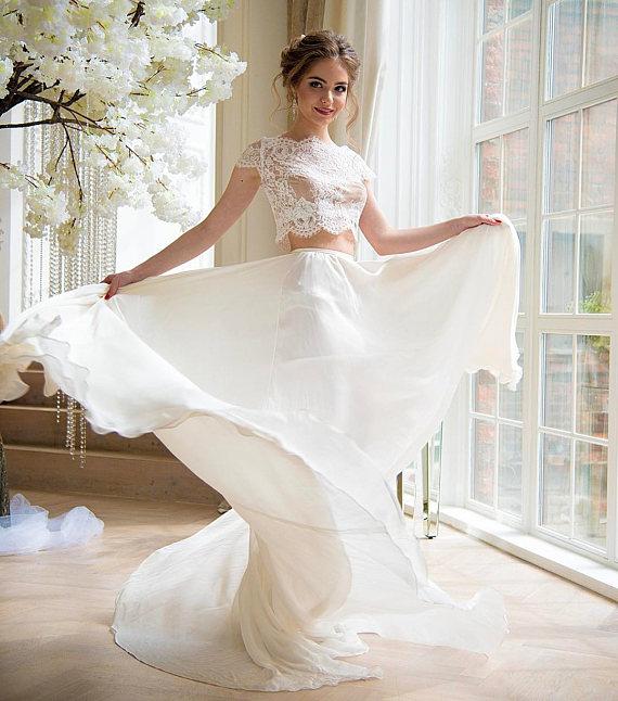 Wedding crop top, lace crop top, crop top wedding dress, crop top ...