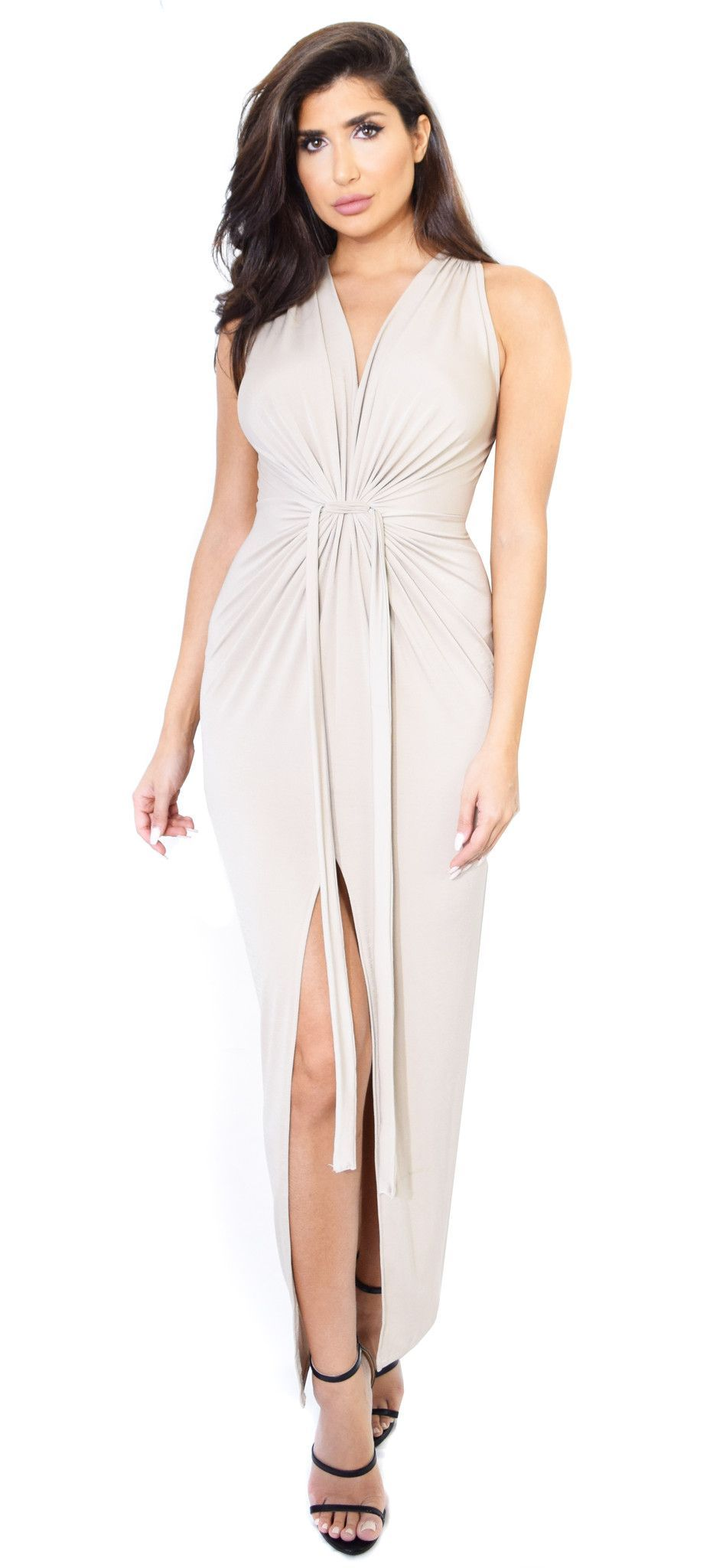 Layal Taupe Front Tie Maxi Dress