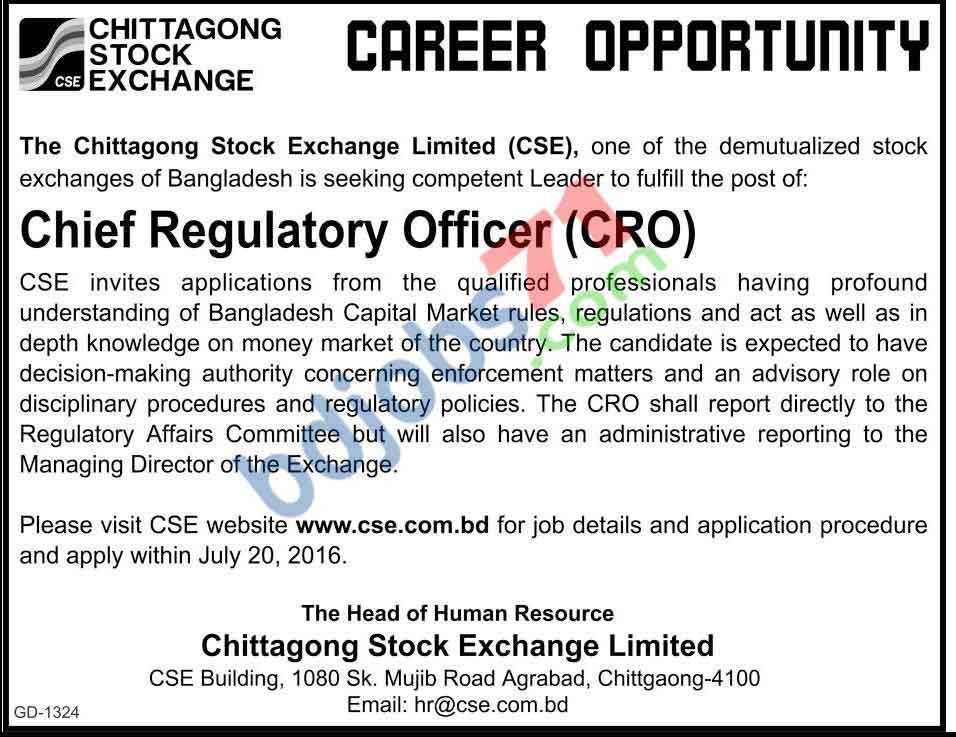 Chief Regulatory Officer (CRO) jobs in Chittagong Stock