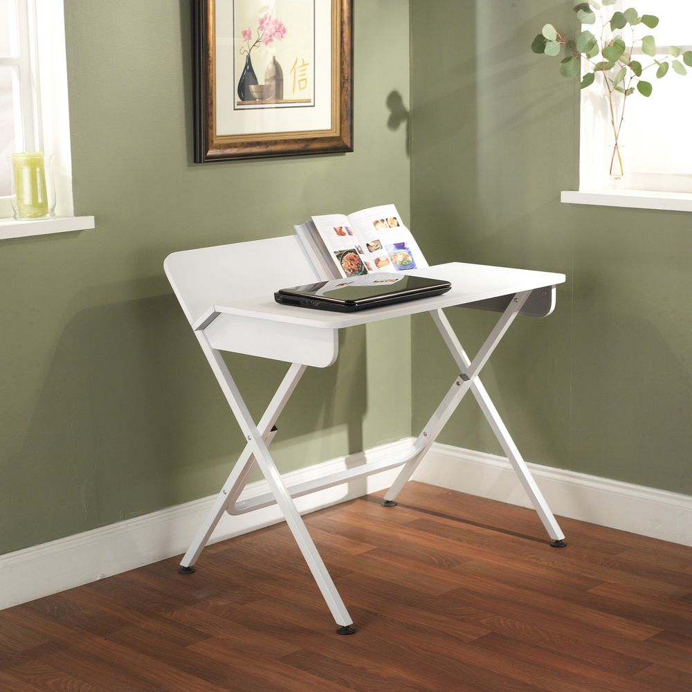 Living Spaces Office Furniture: White Computer Desk With Back Shelf