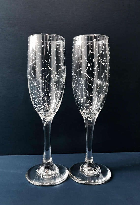 Classic Starry Champagne Flutes Set Of 2 Handpainted Star Etsy Starry Night Wedding Star Themed Wedding Champagne Flute Set