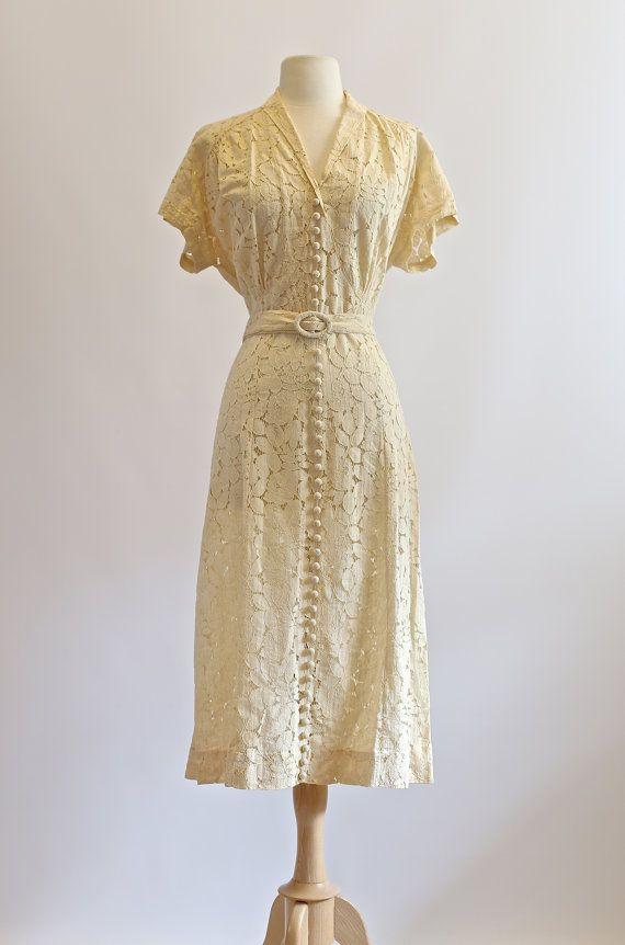 Vintage 1930s Wedding Dress ~ Vintage 30s Lace Dress ~ 1930s Ivory ...
