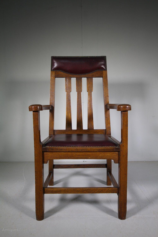 Scottish Arts Crafts Antique Oak Armchair In 2020 Armchair