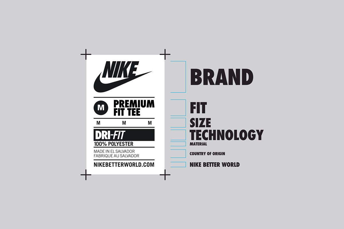 Global communication and neck label system for Nike apparel