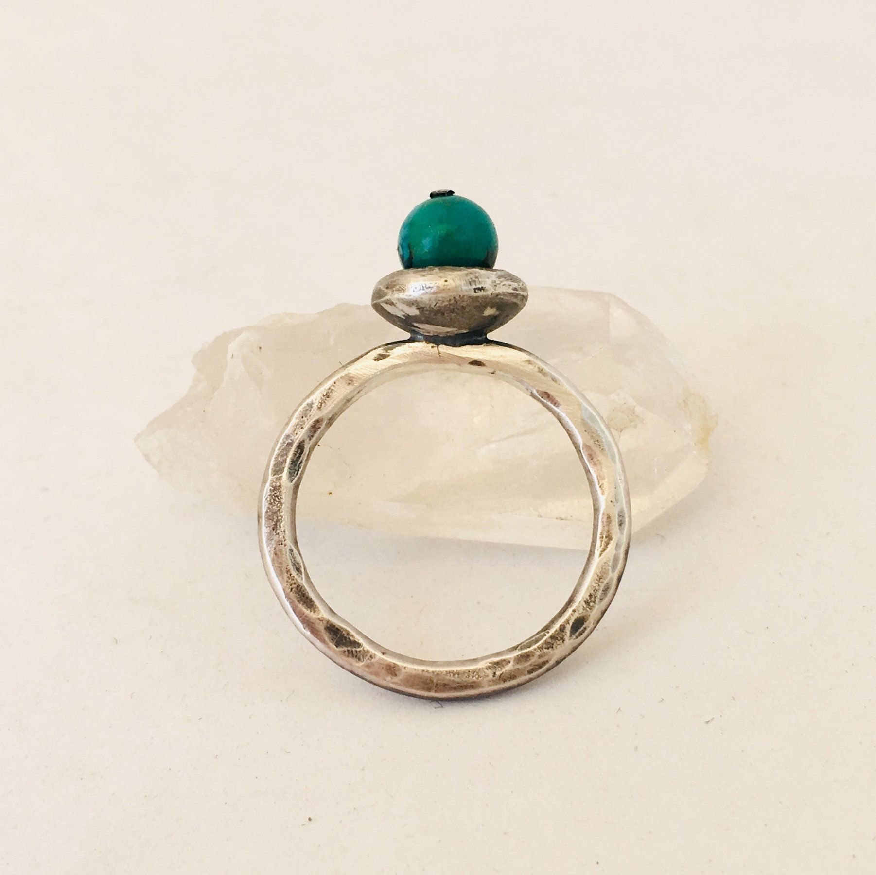 Silver ring set with forged cup and chrysocolla-size 7-handcrafted ring
