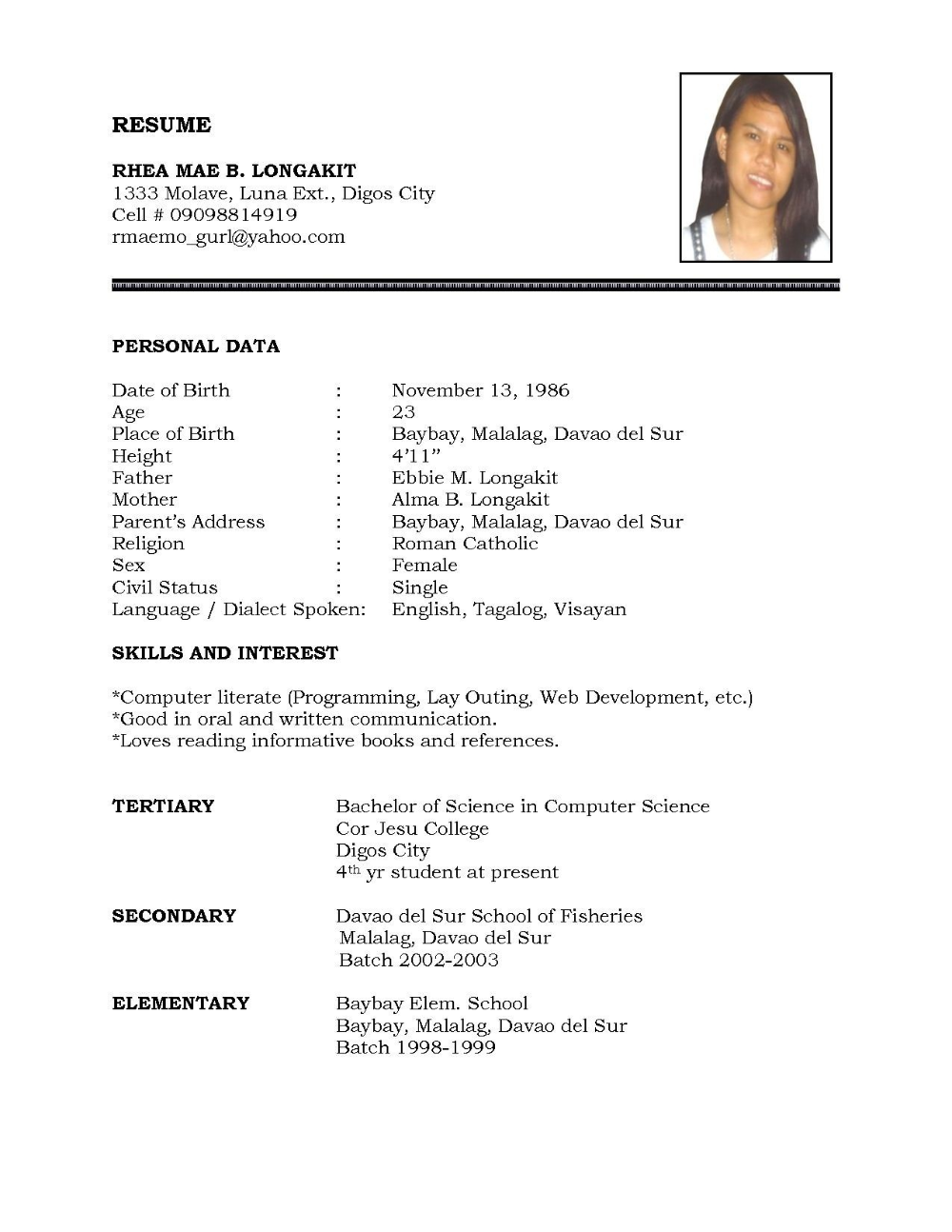 Simple Resume Format In Word File Graphic Designer Free Download