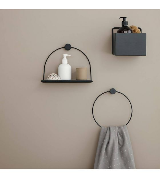 Wandplank Bathroom zwart metaal hout 26x10x21cm | badkamer | Pinterest