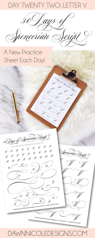 Spencerian Script Style Letter V Worksheets Worksheets
